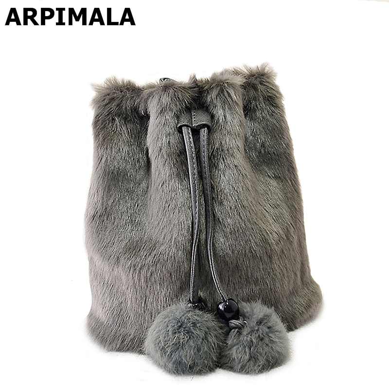 2017 Winter Faux Fur Women Messenger Bags Small Leather Handbags Luxury Designer Women Bag Rabbit Ladies Bucket Bag Crossbody