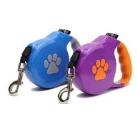 5M Long Dog Paws Printed Automic Telescopic Traction Rope Retractable Leash Flexible Pet Dog Leashes