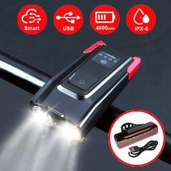 2000/4000 MAh Smart Induksi Sepeda Depan Lampu Kit Usb Isi Ulang LED Lampu Belakang dan Lampu dengan Tanduk Senter untuk sepeda