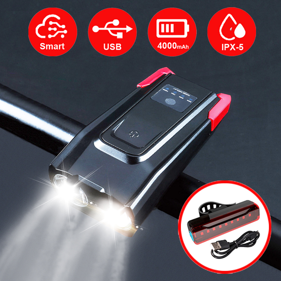 2000/4000mAh Smart Induction Bike Front Light Kit USB Rechargeable LED Taillight And Headlight With Horn FlashLight For Bicycle