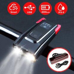 2000/4000mAh inteligente de inducción de luz delantera de bicicleta Kit USB recargable LED luz trasera y faro con cuerno linterna para bicicleta
