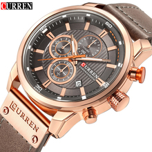 Mens Watches Top Brand Luxury Fashion Casual Waterproof Chronograph Date Genuine Leather Sport Military Male Clock CURREN 8291
