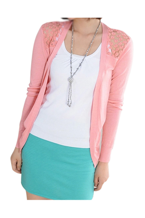 Hot Spring Sweater Fashion Women Cardigan Lace Sweet Candy Pure Color Sexy Lady Slim Crochet Knit Blouse Sweater Cardigan Coat