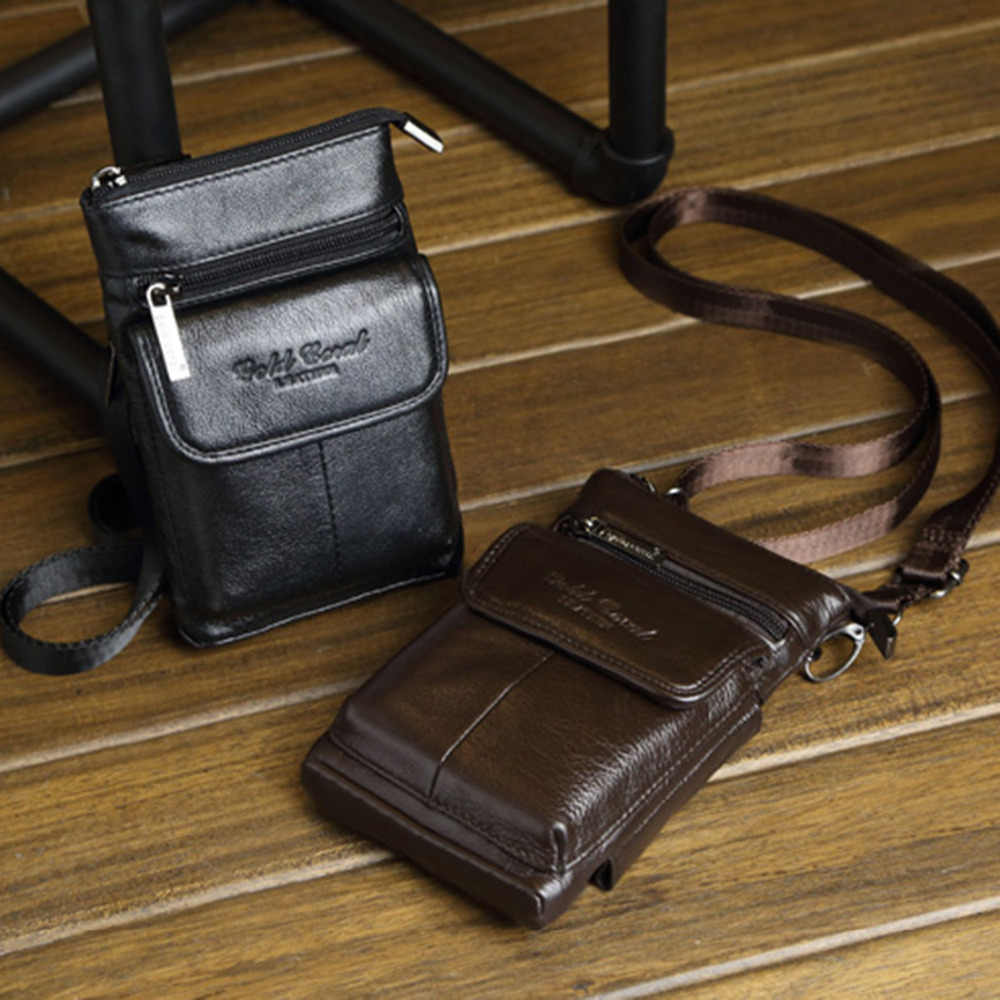 New High Quality Genuine Leather Cell Mobile Phone Case Small Messenger Shoulder Cross Body Belt Bag Men Fanny Waist Hook Pack