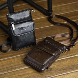 Новинка Высокое качество Натуральная кожа сотовый мобильный телефон чехол маленькая сумка через плечо ремень сумка Мужская поясная сумка