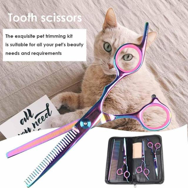 Pet Dogs Hair Scissors Puppy Cat Grooming Hairdressing Cutting Beauty Tools Pet Dog Cat Scissors Kits Hair Trimmer Products 2