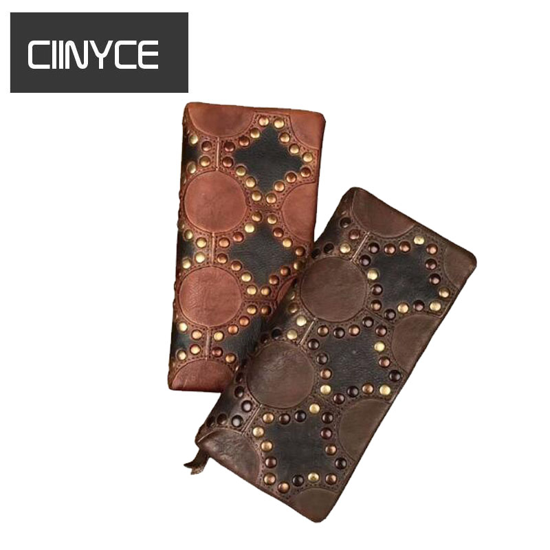 New Handmade Women Wallet Retro Genuine Leather Female Clutch Vintage Design Brand Rivets Cowhide Purse Cell Phone bag new head layer cowhide purse female butterfly skin carving bag long wallet retro handbag leather lady purse
