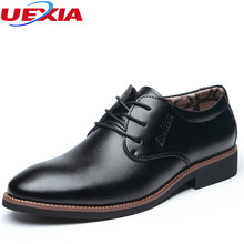 UEXIA Winter Shoes Men Warm Leather Casual Dress Men Shoes Plush Oxfords For Office Work Warm Formal Wedding Brogue Pointed Toe