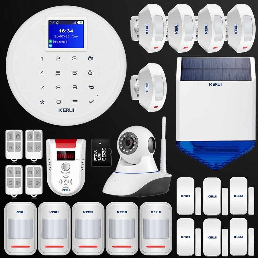 цена на New W17 Android IOS APP Control GSM WiFi Home Security Alarm System Wireless PIR Smoke Detector Indoor Wifi Camera Solar Siren