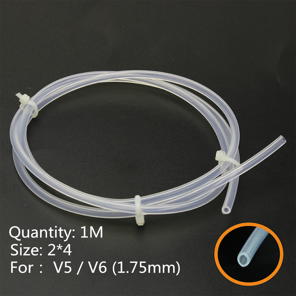 3D Printer 1M 2*4mm Clear PFA PTFE Tube Teflon PiPe J-head hotend RepRap Rostock Bowden Extruder for e3d V5 / V6 1.75MM Filament new 12v e3d v6 3d printer extruder j head hotend 0 4mm nozzle for 1 75mm filament fan