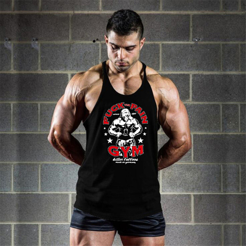 Gym Deltoid Bodybuilding Fitness Stringer Men Tank Top Golden Gorilla Wear Vest Undershirt Male Gym Bodybuilding Tanktops
