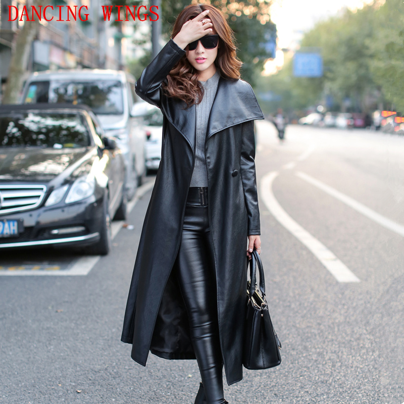 Plus size S-XXXL long PU leather trench coat women autumn fashion High-end Slim Belt Black Women Overcoat Long Windbreaker
