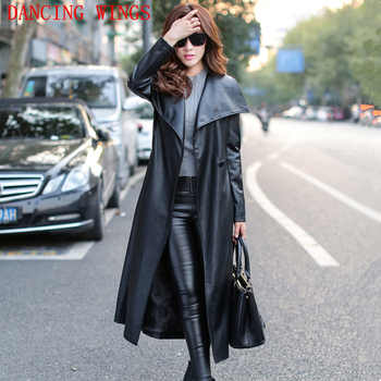 Plus size S-XXXL long PU leather trench coat women autumn fashion High-end Slim Belt Black Women Overcoat Long Windbreaker - DISCOUNT ITEM  32% OFF All Category