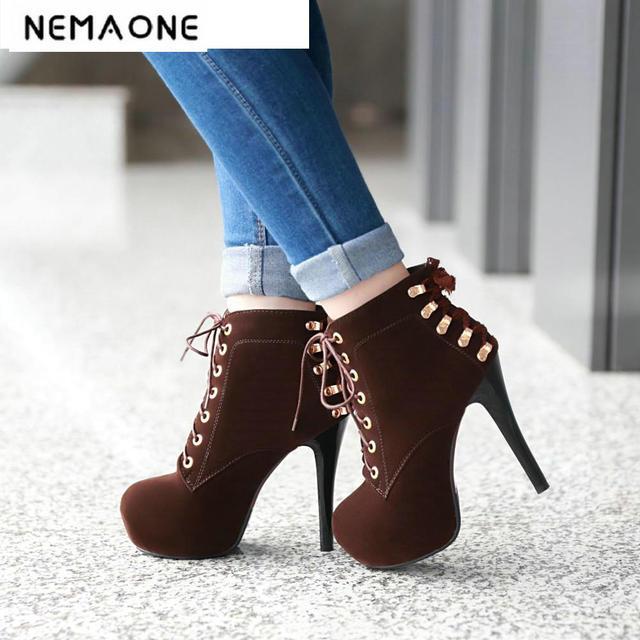 4c7f21cb11d 2018 mujeres botas sexy tacones altos plataforma botines para mujer botas  Thin Heel LACE up noche
