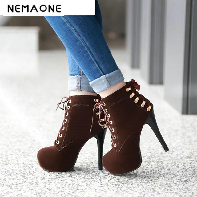 2018 women boots sexy high heels platform ankle boots for ...