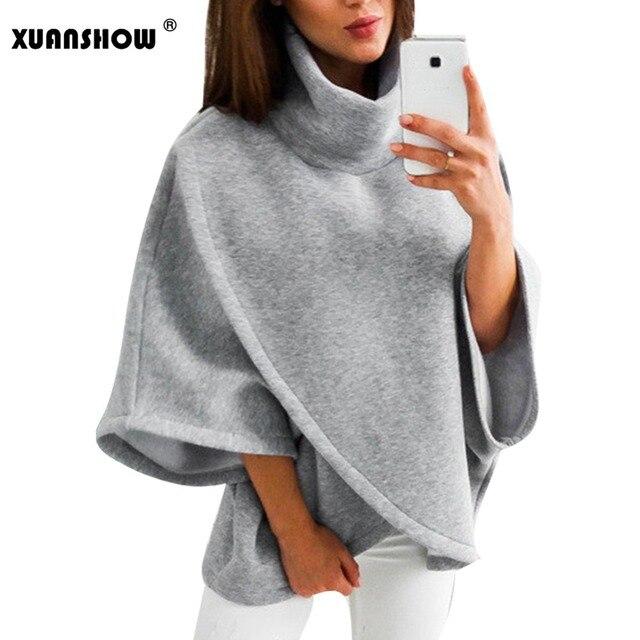 4a5e8836b72b63 XUANSHOW moda zima futro płaszcz kobiety nieregularne Kurtka z polaru z  golfem kołnierz bluzy utrzymać ciepłe ubrania Kurtka Zimowa