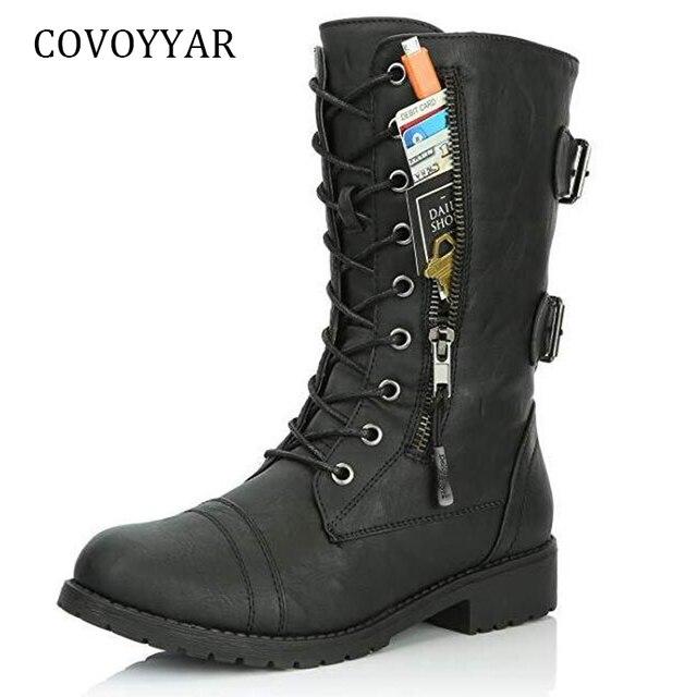 COVOYYAR 2018 Kadın Çizmeler Zip Toka askeri postal Kredi Kartı Cep Patik PU Deri siyah ayakkabı Büyük Boyutları WBS949