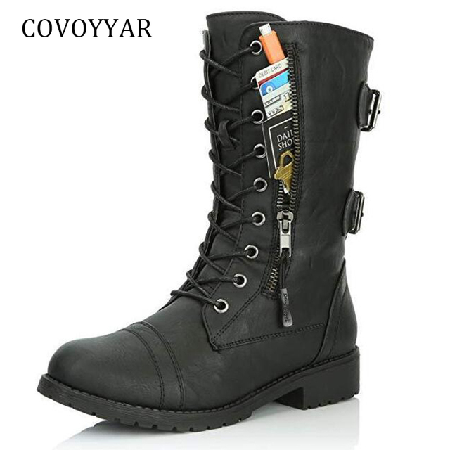 COVOYYAR 2018 Women Boots Zip 버클 군 전투 Boots Credit Card Pocket 옷 PU Leather Black Shoes 큰 Sizes WBS949