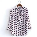 2017 Primavera Mulheres Impresso Chiffon Blusa Bow-Tie Collar Manga Comprida Senhoras Simples Camisa Branca High Street Tops blusas RGWM23
