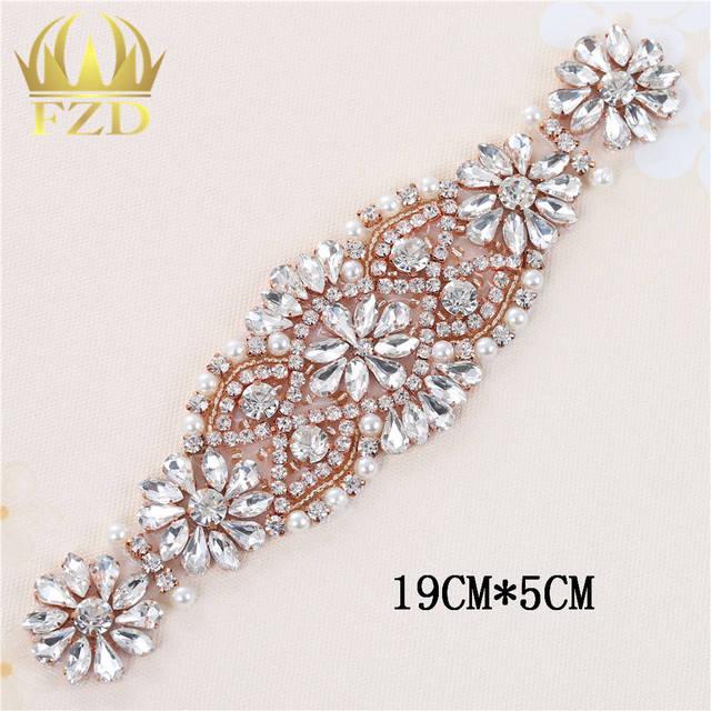 (1piece)Handmade Sew Iron On Diamante Clear Beaded Crystal Rhinestone  Applique Patch for Wedding Dresses DIY Bridal Sash Garters 8c23604fcb02