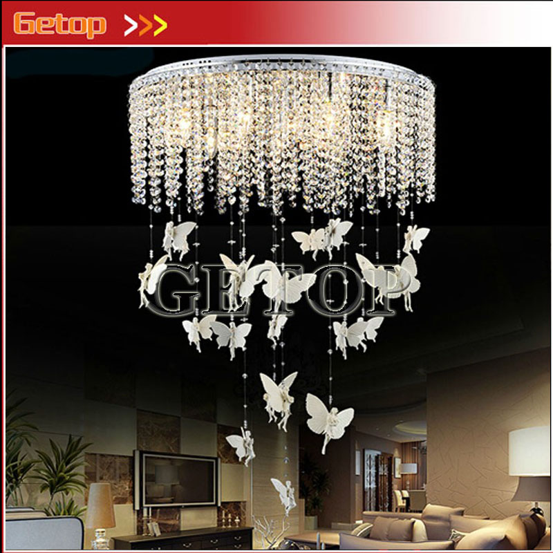 Modern Crystal Curtain Round Ceiling Lamp Hanging Angel Lustres Dreamlike LED Lights Sittingroom Restaurant Children Room скатерть angel ya children tsye zb266 88
