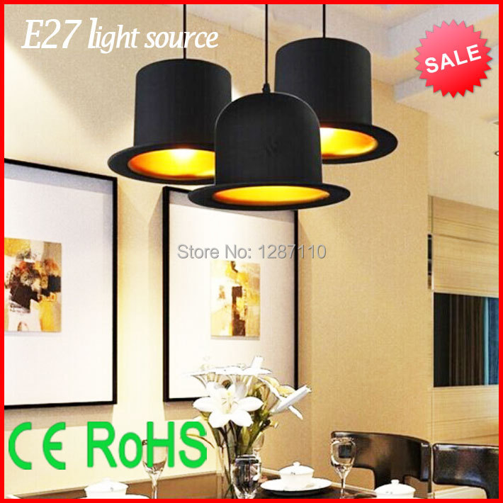 ФОТО Modern LED pendant light for dining room creative Jeeves&wooster top hat pendant lights E27 holder Outside Black Inside Golden