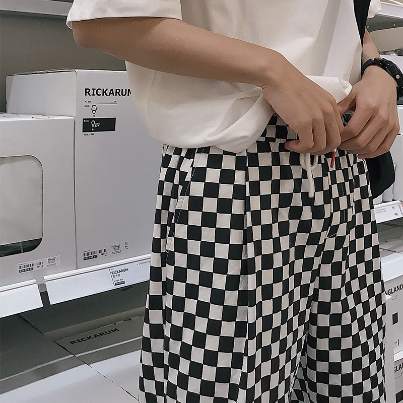 2018 Summer Mens Fashion Punk Style Black And White Lattice Straight Casual Pants Loose Elastic Waist Trousers Plus Size M-XL