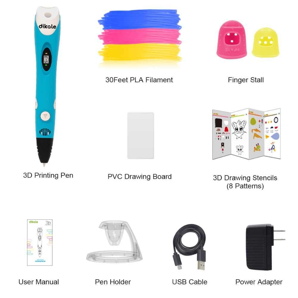 Pluma de impresión 3D Dikale, garabatos, pluma 3D, Lapiz Stylo 3D, bolígrafo de dibujo de impresión, lápiz PLA filamento para chico regalo para adultos