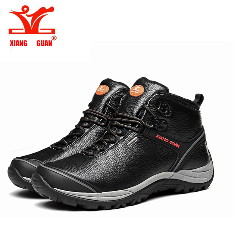 ФОТО XIANGGUAN Brand Men shoes sales Leather Waterproof Hiking Shoes Slip Resistant Shoes, Climbing boots Comfort Durable Shoes High