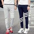 Плюс Размер 5XL Sweatpant Шаровары Мужчины Бегунов Три Полосатый Тонкий Fit Тощий мужские Hip Hop Swag Одежда High Street Черный Серый