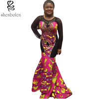 2016 Summer Spring Autumn African Dresses For Women Ankara Lace Knitting Stitching Batik Printing Long Sleeve
