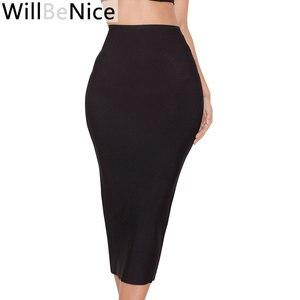 Image 2 - Черная Женская юбка карандаш WillBeNice с высокой талией и разрезом на спине, облегающая розовая юбка карандаш до середины икры, 2019