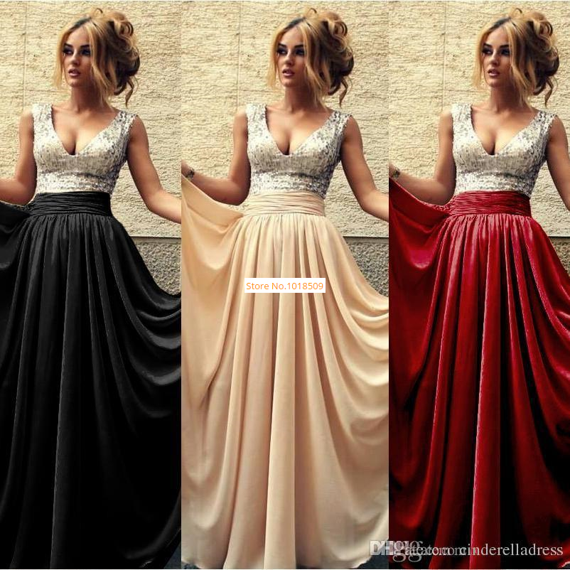 2015 Under 50 Summer Cheap Evening Dresses V Neck A line Chiffon ...