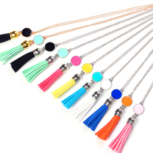 NEW Colorful Resin Alloy Tassel Pendant Necklace Women Accessories Long Chain Statement Necklaces Jewelry Necklaces & Pendants