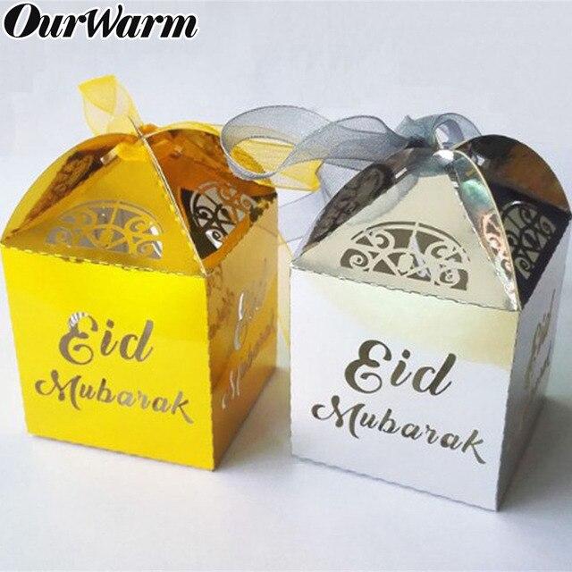 OurWarm 10 Pcs Happy Eid Mubarak Candy กล่องรอมฎอนตกแต่งกระดาษของขวัญกล่องอิสลามมุสลิม al   Fitr Lessar Eid Party 4 สี