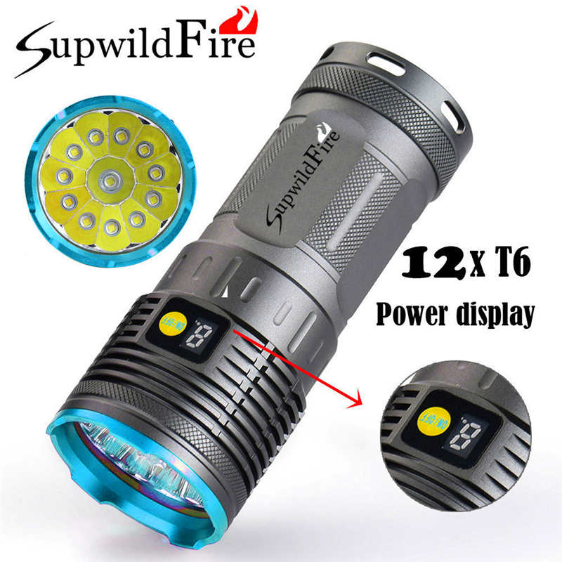 Led Flashlights Kind-Hearted Supwildfire 35000lm 12 X Xm-l T6 Led Digital Display Hunting Powerful Led Flashlight By 18650 Battery Lanterna Led T6 #3o4 Yet Not Vulgar