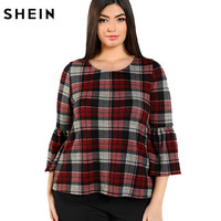 SHEIN Multicolor Plus Size Women T Shirts Red Plaid O Neck Top Spring Summer Casual Bts