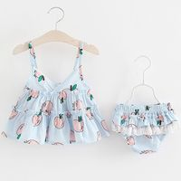 BOBORA 2017 1 4 Years Old Summer Girl Suit Apple Print Jacket With Pants 2 Sets