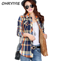 Newest Warm Thick Women S Plaid Shirt Female Long Sleeve Velvet Tops Shirts Autumn Winter Blouse