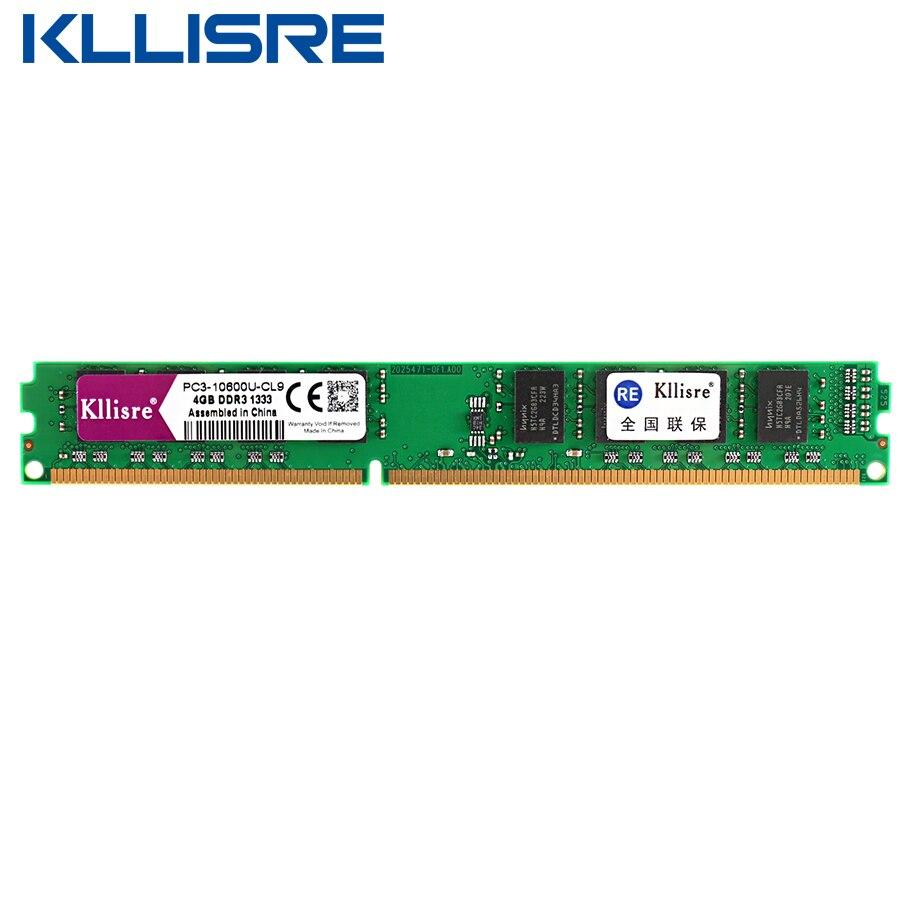 Kllisre ddr3 ram 4 gb 1333 1600 mhz memória de desktop não-soquete de suporte ecc 775 ddr3 placa-mãe