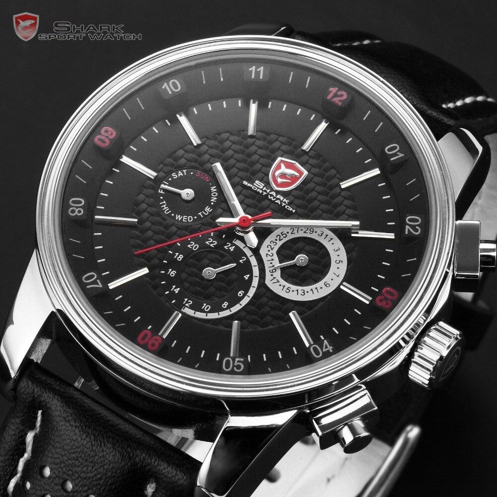 Montre de Sport Pacific Angel requin 6 mains calendrier boîte en acier inoxydable noir cuir Relojes hommes Quartz poignet étiquette montre/SH092 - 2
