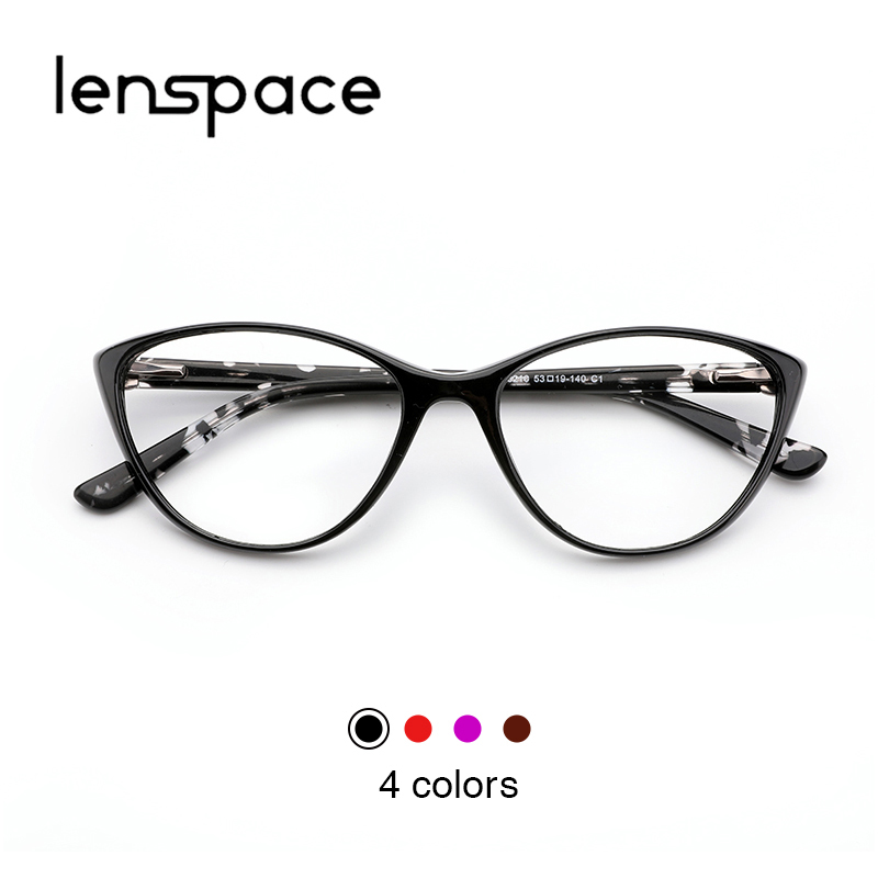 9141b77443f Lenspace Acetate Glasses Women Frames TR90 Cat eye Designer Optical  Transparent Myopia Glasses Frame Clear Fashion