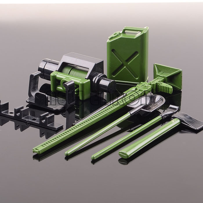 GREEN Winch Shovel Oiler Jack Hatchet FOR RC 1:10 SCX10 CC01 AX10 Rock Crawler