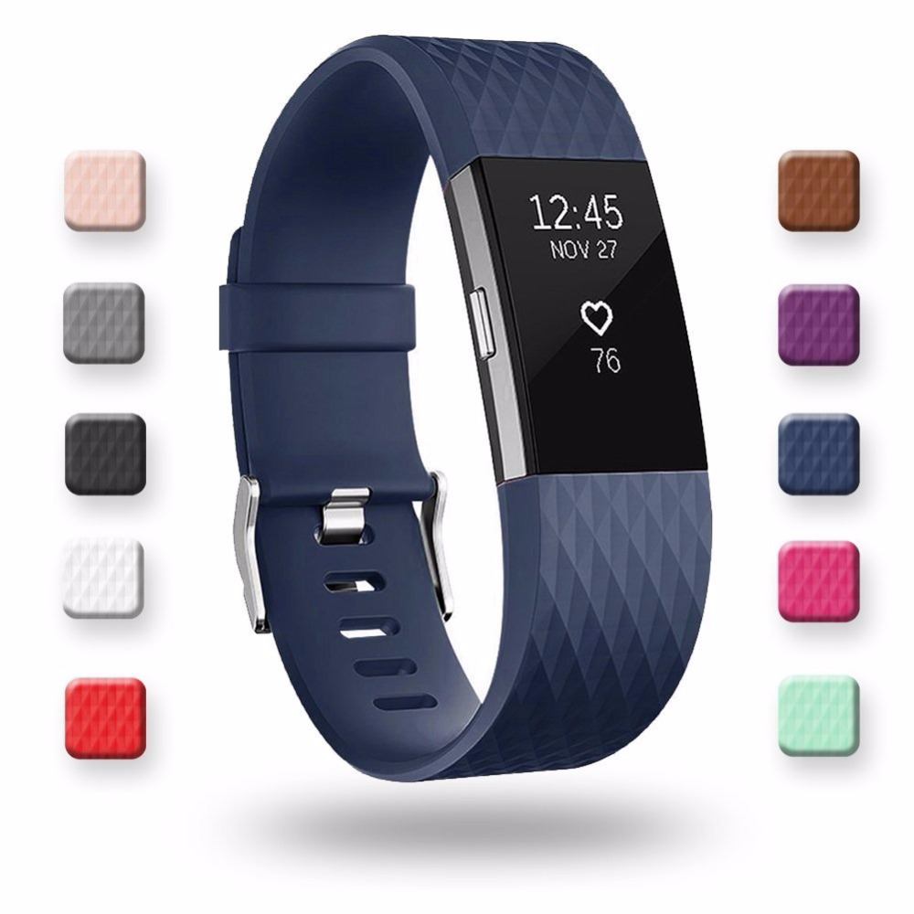 3D Silicone Replacement Straps For Fitbit Charge 2 Band Smart Watch Bracelet For Fitbit Charge2 Band Wristband Strap