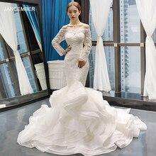 J66734 jancember mermaid wedding dress ruffle style off shoulder long sleeves trumpet bridal 2019 vestido de novia sirena