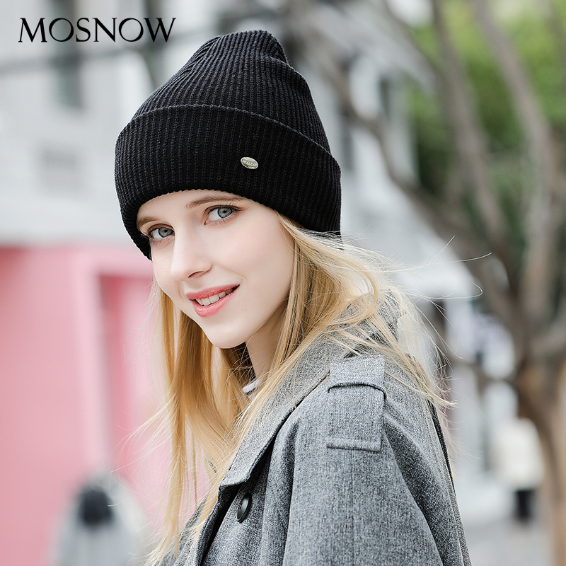 MOSNOW Women's Hats Cotton Fashion Brand New Autumn 2018 Winter Cap High Quality Knitted Hat Female   Skullies   Bonnet Femme #MZ832