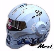 610 IRONMAN MASEI capacete da motocicleta Capacete motocross capacete metade Tendência Personalidade rosto aberto capacete Ciclo capacete Raça Azul Fosco