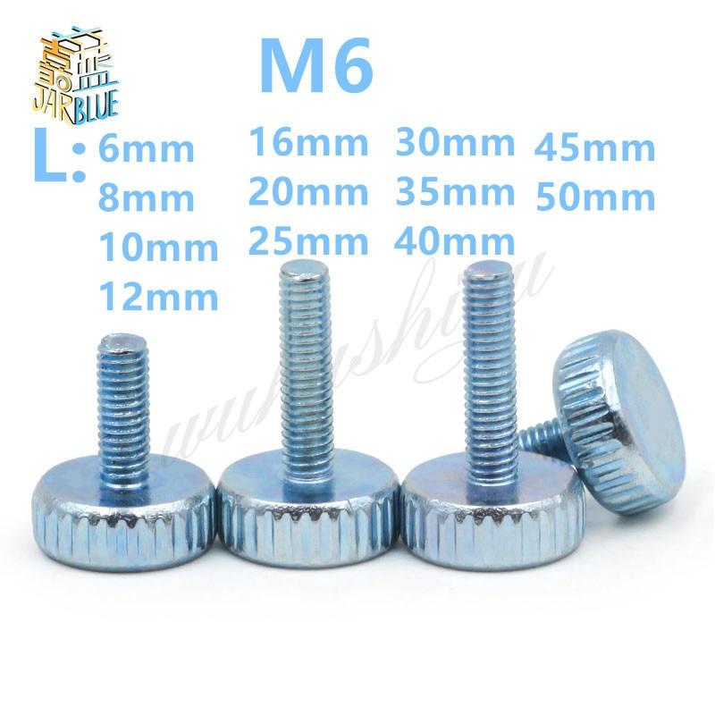 10Pcs DIN653 GB835 M6*(6/10/12/16/20/25/30/35/40/45/50)mm Knurling Flat Head Knurled Thumb Screw Hand Tighten Computer Screws 10pcs m3 a2 304 thumb screws plain type metric knurled head screws hw155