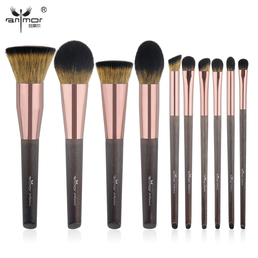 Anmor New 10 PCS Makeup Brushes Set Exquisite Synthetic Make Up Brushes Professional Kit FG001 10 pcs soft synthetic hair make up sets