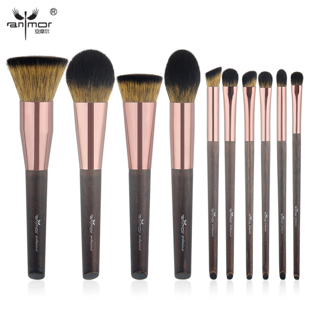 Anmor New 10 PCS  Makeup Brushes Set Exquisite Synthetic Make Up Brushes Professional Kit FG001
